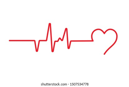 Heart beat pulse flat vector icon for medical apps and websites. Blood pressure , cardiogram, health EKG, ECG logo. Heart in flat outline style.