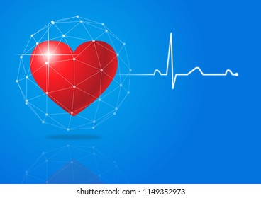 Heart beat or heart rate pulse vector design on blue background