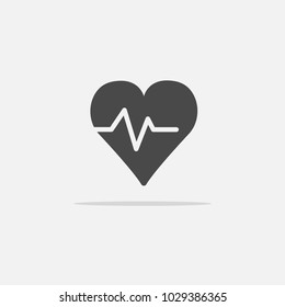 heart beat rate vector icon with shadow