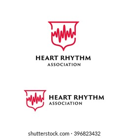 Heart Beat Shield Original Memorable Minimal Graphic Symbol For Your Business. Attractive Unique Simple Solid Mark For Cardiology Clinic, Medical Center, Medicine Service etc. Vector Illustration.