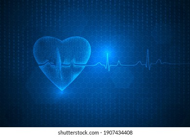 heart beat wave lines technology abstract background.