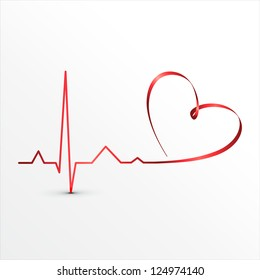 Heart beats cardiogram icon. Medical background
