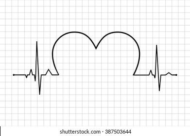 Heart beats various cardiogram vector set. Electrocardiogram and infarction pulse, line health, cardiology medicine illustration, Life line. Normal Sinus Rhythm. Heart Icon heart with cardiogram.