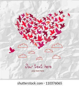 The heart of the birds. Love colorful card. Can be used for postcard, valentine card, wedding invitation