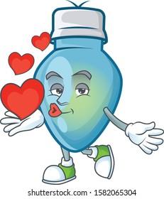 With heart blue christmas bulb cartoon character mascot style