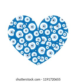 heart with blue evil eyes vector - evil eye card - love card with white background