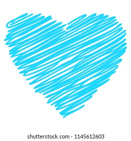 Heart blue sign vector shape hand drawn sketch paintied isolated on white background