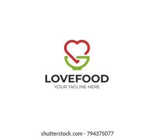 Heart and bowl logo template. Kitchenware and love symbol vector design. Natural nutrition illustration