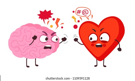 heart and brain fight. shouting at each other. conflict of feelings and mind. cartoon vector illustration isolated on white background.