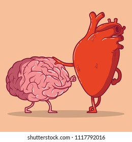 Heart and brain fighting vector illustration. Love, hate, relation, decision, responsibility design concept