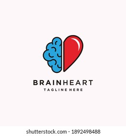 Heart and Brain Flat Logo Design, Vector Icon