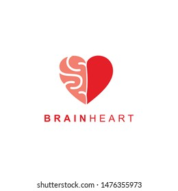Heart Brain Flat Logo. Modern logo isolated on white background. Simple vector illustration for graphic or web design.