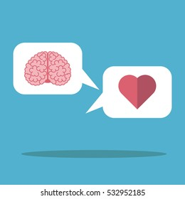 Heart and brain in the white cloud on blue background. Mind, logic, emotion and love concept. Flat design. Vector illustration. EPS 8, no transparency