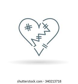 Heart break icon. Broken heart sign. Relationship abuse symbol. Thin line icon on white background. Vector illustration.