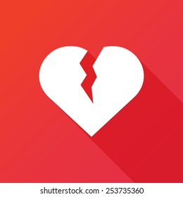 Heart break icon. Flat icon with long shadow