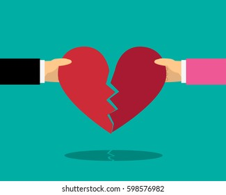 Heart break with male and female hand, vector