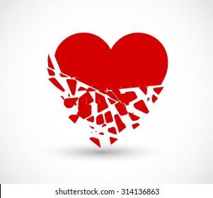 Heart breaking into pieces icon vector