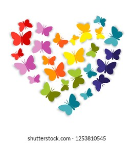 Heart from bright colorful paper Butterfly. The butterflies cut out of paper are folded in the shape of a heart. Paper cut style. Vector illustration isolated on white background.