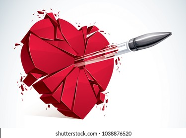 Heart broken with bullet gun shot, 3D realistic vector illustration of heart symbol exploding to pieces. Creative idea of breaking apart love, break up.