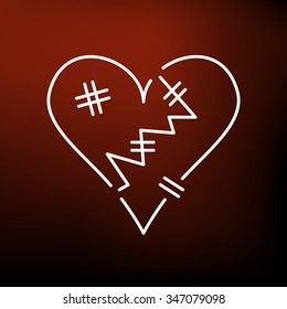 Heart broken icon. Heart break sign. Love abuse symbol. Thin line icon on red background. Vector illustration.