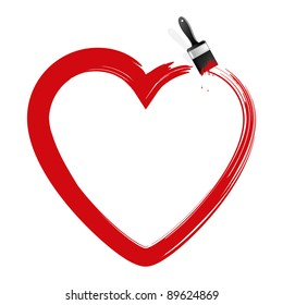 Heart and brush. Vector illustration.