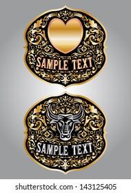 Heart - Bull - cowboy belt buckle vector design