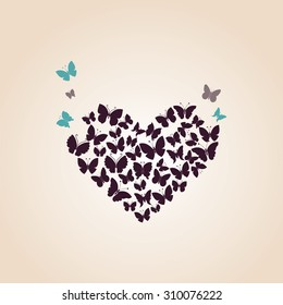 Heart of butterflies Valentine's day card. Vector illustration.