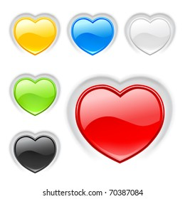 Heart (buttons) multicolor icons set. Valentine. Vector
