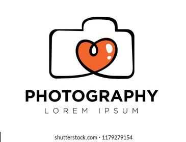 heart camera photography logo icon vector template