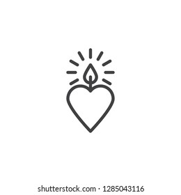Heart candle line icon. linear style sign for mobile concept and web design. Candle heart outline vector icon. Love and valentine's day symbol, logo illustration. Pixel perfect vector graphics