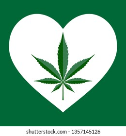 Heart with cannabis, marijuana, marihuana, hemp, weed leaf inside. Marijuana Heart. Cannabis lover sign.