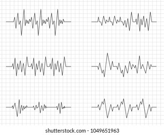 Heart Cardiogram Chart Vector. Illustration Of Wave Form On Checked Ecg Graph