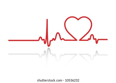 Heart cardiogram with heart on it (white)