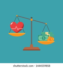 Heart with cardiogram and pile of money on scales as concept of life choice health or career. Imbalance of lifestyle and work. Flat vector illustration.