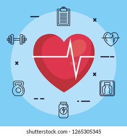 heart cardiology with fitness icons