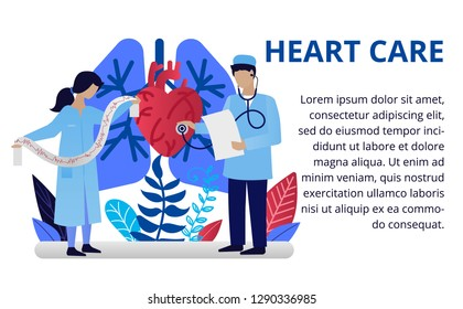 Heart care concept in flat style. Doctors doing medical research, cardiogram. Online medicine concept. Vector illustration for web banners, brochure cover design and flyer layout template