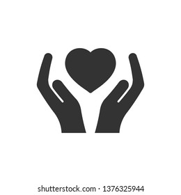 Heart care icon in flat style. Charity vector illustration on white isolated background. Love in hand business concept.