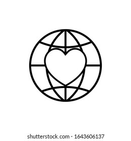 Heart Care icon Globe flat design vector illustration EPS 10