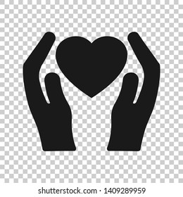 Heart care icon in transparent style. Charity vector illustration on isolated background. Love in hand business concept.