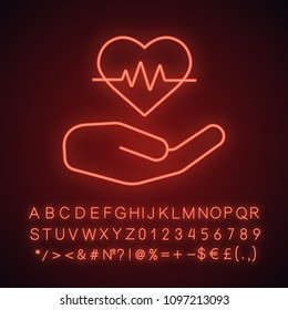 Heart care neon light icon. Human hand with heartbeat curve. Glowing sign with alphabet, numbers and symbols. Vector isolated illustration