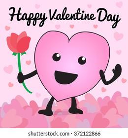 Heart cartoon vector happy valentine day