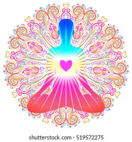 Heart Chakra concept. Inner love, light and peace. Silhouette in lotus position over colorful ornate mandala. Vector illustration isolated on white. Buddhism esoteric motifs. Tattoo, spiritual yoga.