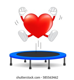 Heart character jumping on trampoline gymnastic. health care concept, illustration isolated on white background.