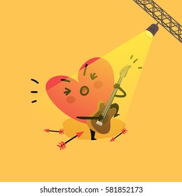 Heart character singing and playing guitar. Vector colorful illustration