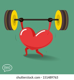 Heart charactor vector design fitness for smart heart with running,dumbbell,boxing