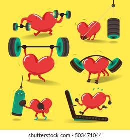 Heart charactor vector design fitness for smart heart with running,dumbbell,boxing. Illustrate Set