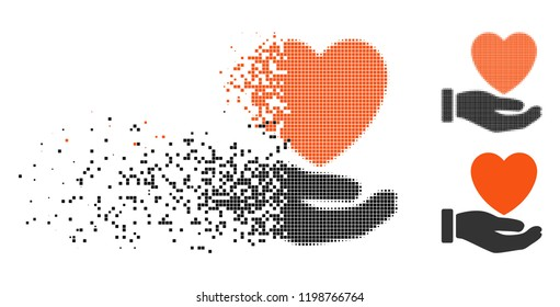 Heart charity icon in disappearing, pixelated halftone and undamaged entire variants. Points are organized into vector disappearing heart charity symbol. Disappearing effect involves square particles.