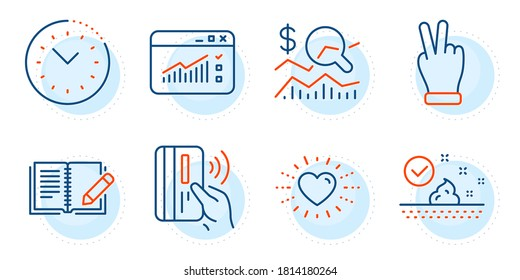 Heart, Check investment and Contactless payment signs. Skin care, Victory hand and Web traffic line icons set. Time management, Feedback symbols. Face cream, Gesture palm. Business set. Vector