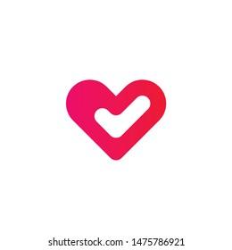 Heart Check Logo Design Template