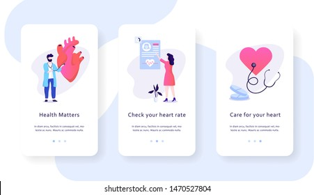 Heart checkup mobile web banner concept. Idea of health care and disease diagnosis. Doctor examine blood pressure with stethoscope. Cardiology specialist. Isolated vector illustration in flat style